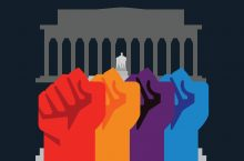 illustrated fists upraised against Lincoln memorial