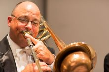 Stephen Parsons performing on trombone