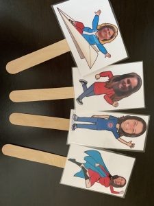 Flat teachers on a stick