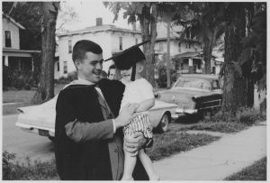 Maske with son, Mike, for master's graduation in 1960