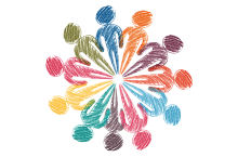 Design showing rainbow colored humans forming a circle