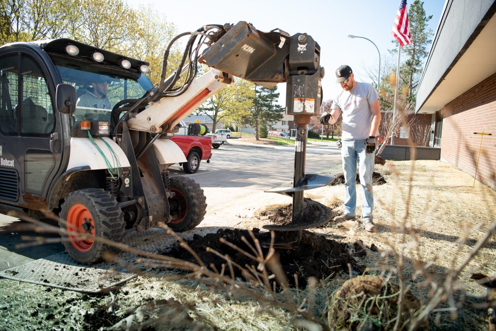 Truck digging hole