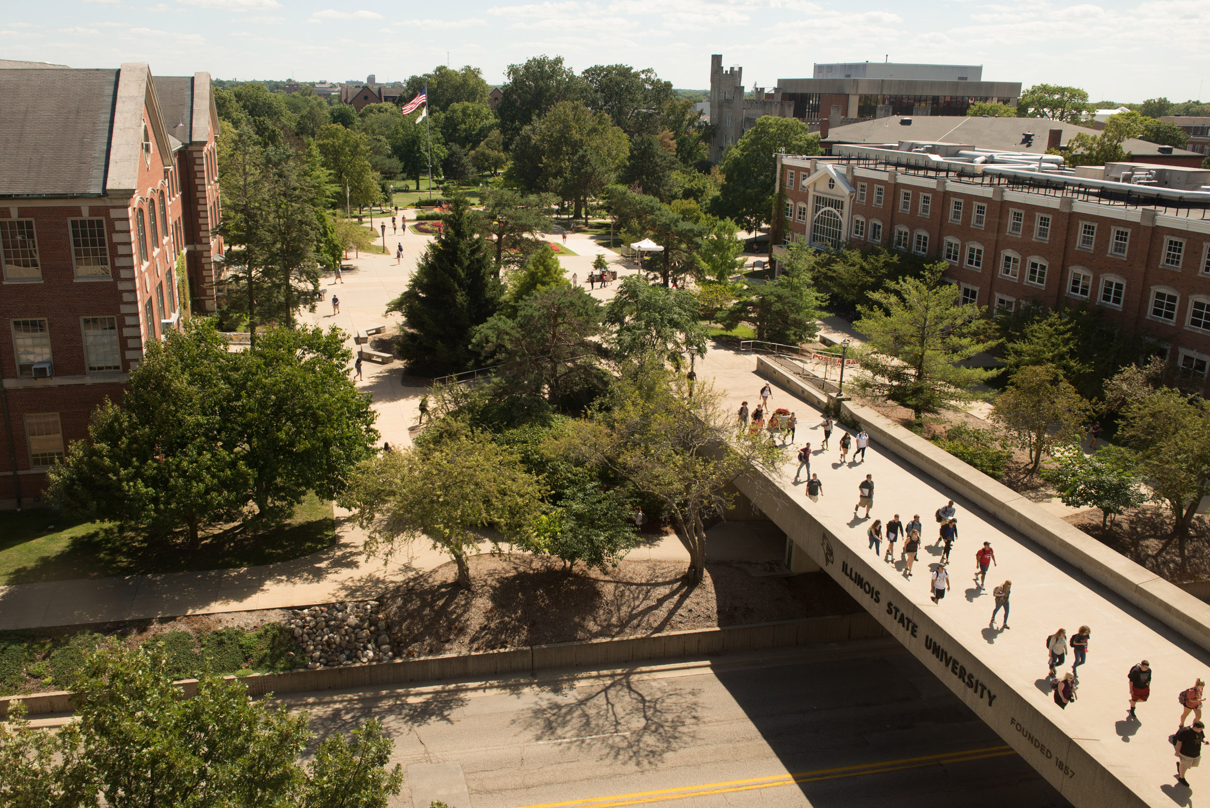 Looking down on the College Avenue overpass from Milner Library