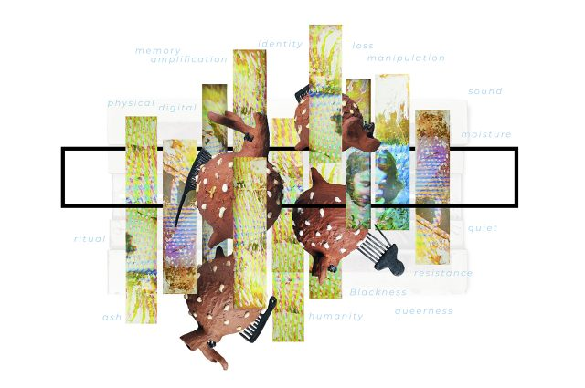 """artwork from the exhibition poster for """"A Lot & a little"""" depicting a collage of images and words"""