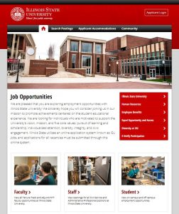 Picture of the landing page for the new ISUJobs