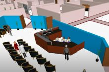 A waiting room visual created using virtual simulation technology. Simio's simulations test waiting line models, among other concepts.