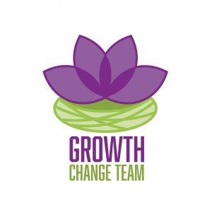 Growth Change Team logo with flower over lilypad and words Growth Change Team