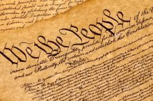 US Constitution with the words We the People at the top