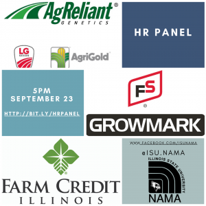 HR Panel Flyer with the names of Ag Reliant Genetics, AgriGold, Farm Credit Illinois, and ISU NAMA