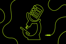 Graphic of a podcast microphone