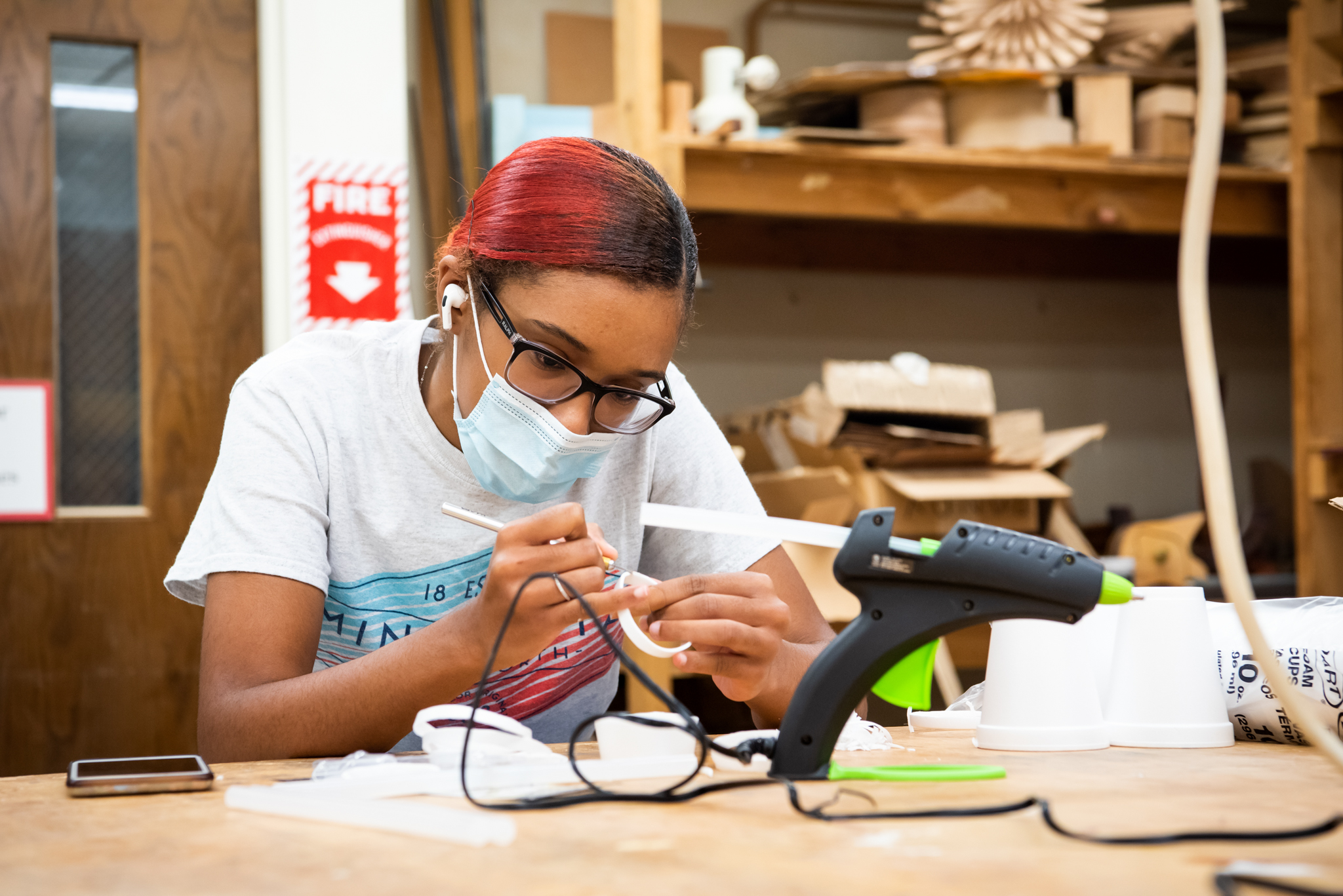 Student working in 3-D art class