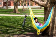 student using computer in hammock on the Quad