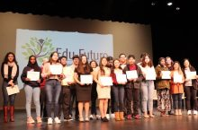 group of students on stage