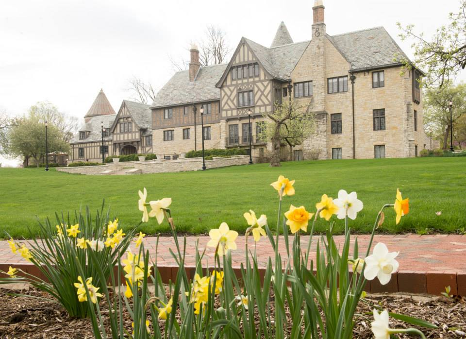 Daffodils bloom on the grounds of the historic Ewing Manor