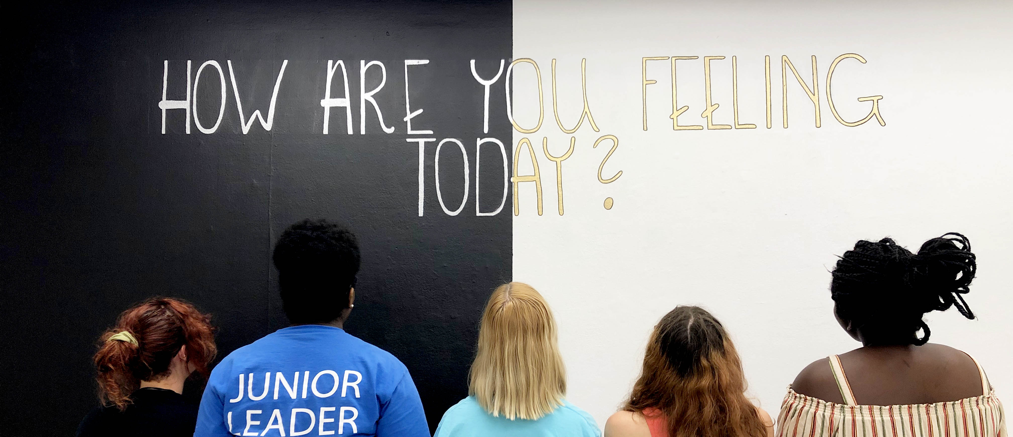 "Teen Collective looking at exhibit ""How Are You Feeling Today?"""